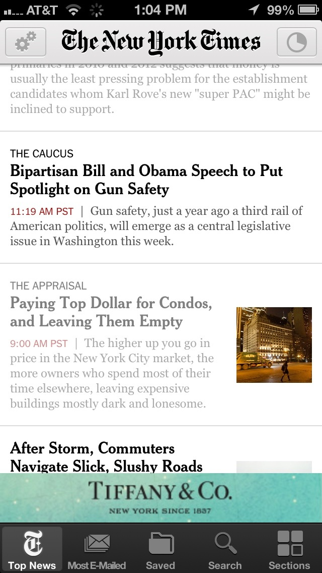 Mobile Banner Ad by Tiffany on NY Times iPhone...